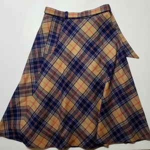 Vintage Brendella Plaid Wool Tie Belt Skirt